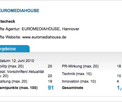 euromediahouse.de von PR-Journal mit 1.4 bewertet